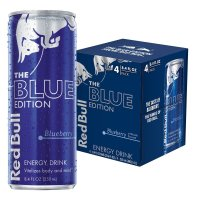 Red Bull, Blue Edition, Blueberry Energy Drink, 4 Count - 8.4 oz (250 ml) each