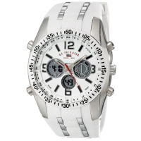 U.S. Polo Assn, Sport Men's US9282 Silver-Tone Watch with White Silicone Band