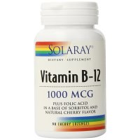 Solaray, Vitamin B-12, 1000 mcg - 90 Cherry Lozenges