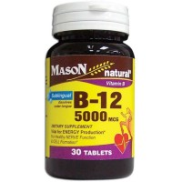 Mason Naturals, Vitamin B-12, 5000 mcg - 30 Sublingual Tablets
