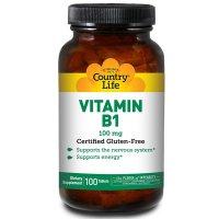 Country Life, Vitamin B1, 100 mg - 100 Tablets