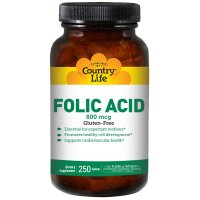 Country Life, Folic Acid, 800 mcg - 250 Tablets