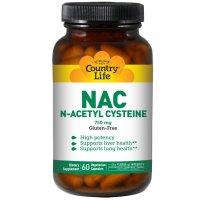 Country Life, NAC, N-Acetyl Cysteine, 750 mg - 60 Veggie Caps