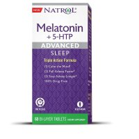 Natrol, Melatonin + 5-HTP, Advanced Sleep - 60 Bi-Layer Tablets