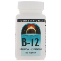 Source Naturals, B-12, Sublingual, 2,000 mcg - 100 Tablets