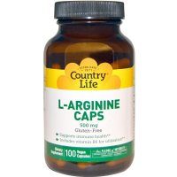 Country Life, L-Arginine Caps, 500 mg - 100 Vegan Caps