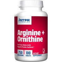 Jarrow Formulas, Arginine + Ornithine, 750 mg - 100 Tablets