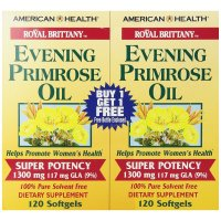 American Health, Royal Brittany, Evening Primrose Oil, 1300 mg, 2 Bottles - 120 Softgels E