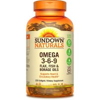 Sundown Naturals, Omega 3-6-9 Flax, Fish & Borage Oils - 200 Softgels