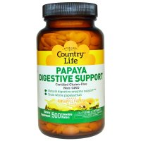 Country Life, Papaya Digestive Support, Pineapple Papaya Flavor - 500 Chewable Wafers