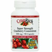 Natural Factors, CranRich, Super Strength, Cranberry Concentrate, 500 mg - 90 Capsules