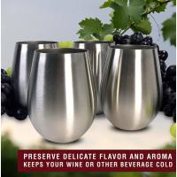 CHL, Stainless Steel Wine Stemless Glasses, 18 oz  (Set of 4)