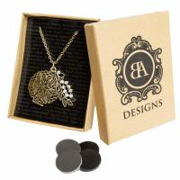 BA Designs, Oil Diffuser Necklace with 4 Leather Discs 30 Chain with Diamond Leaf - Antiqu