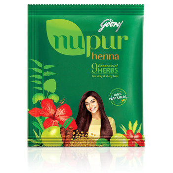 Godrej, Nupur Mehendi Powder 9 Herbs Blend - Net Weight 120 Gram (12 Packs)