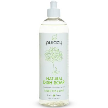 Puracy, Natural Liquid Dish Soap, Sulfate-Free, Green Tea and Lime - 16 Ounce