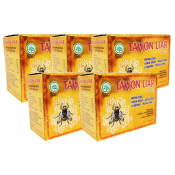 Tawon Liar, 100% Natural Herbs with Extract of Wild Bee Honey - 40 Capsules (5 Boxes)