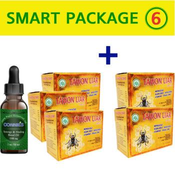 Tawon, Liar - 40 Caps (3 Box + 2 Free) + Connie's Labs, Synergy & Healing Blend Oil, 1500 mg - 1 oz. (30 ml)