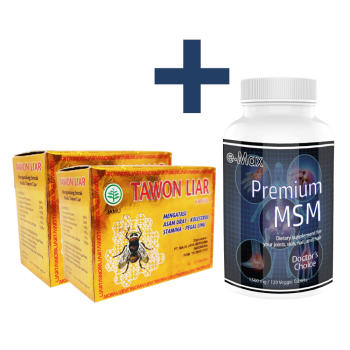 Tawon, Liar - 40 Caps (2 Box) + e-Max®, Premium MSM, 1000 mg - 180 Veggie Caps.