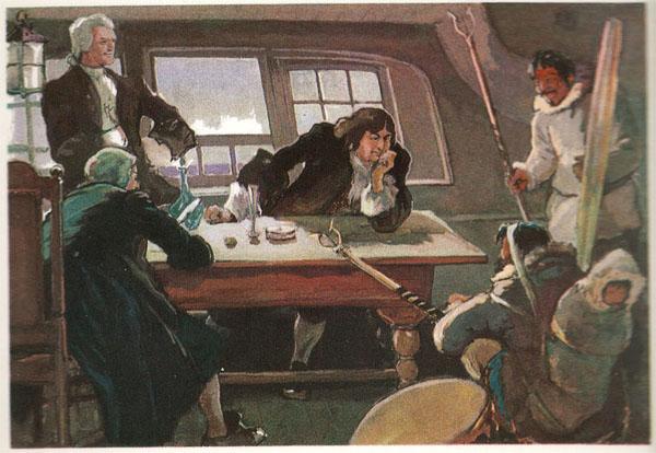 Открытка из комплекта «Русские путешественники и мореплаватели». Витус Беринг и А.И.Чириков