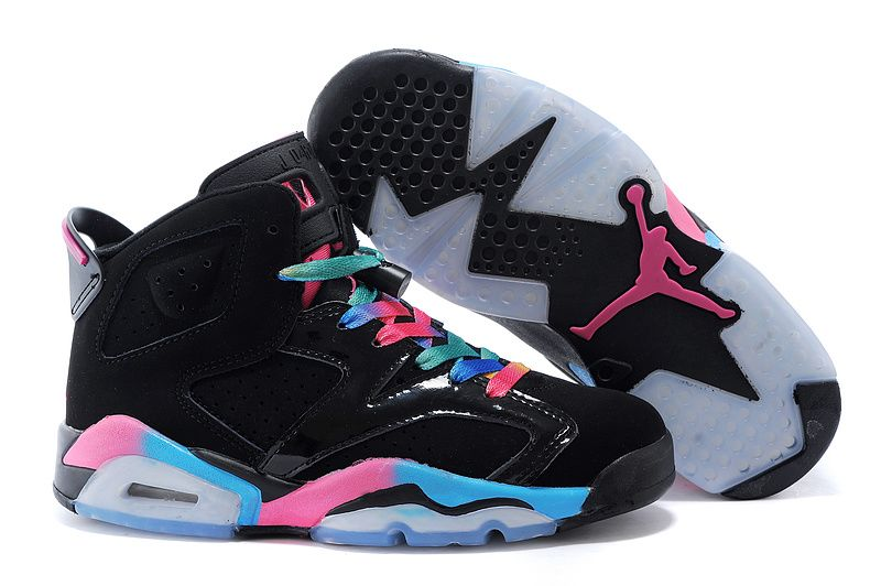 Jordan retro 6 black pink and blue