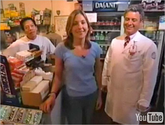 """Stephanie Birkitt, center, in a frame grab of a skit that aired on """"The Late Show With David Letterman"""" on Sept. 24, 2002."""