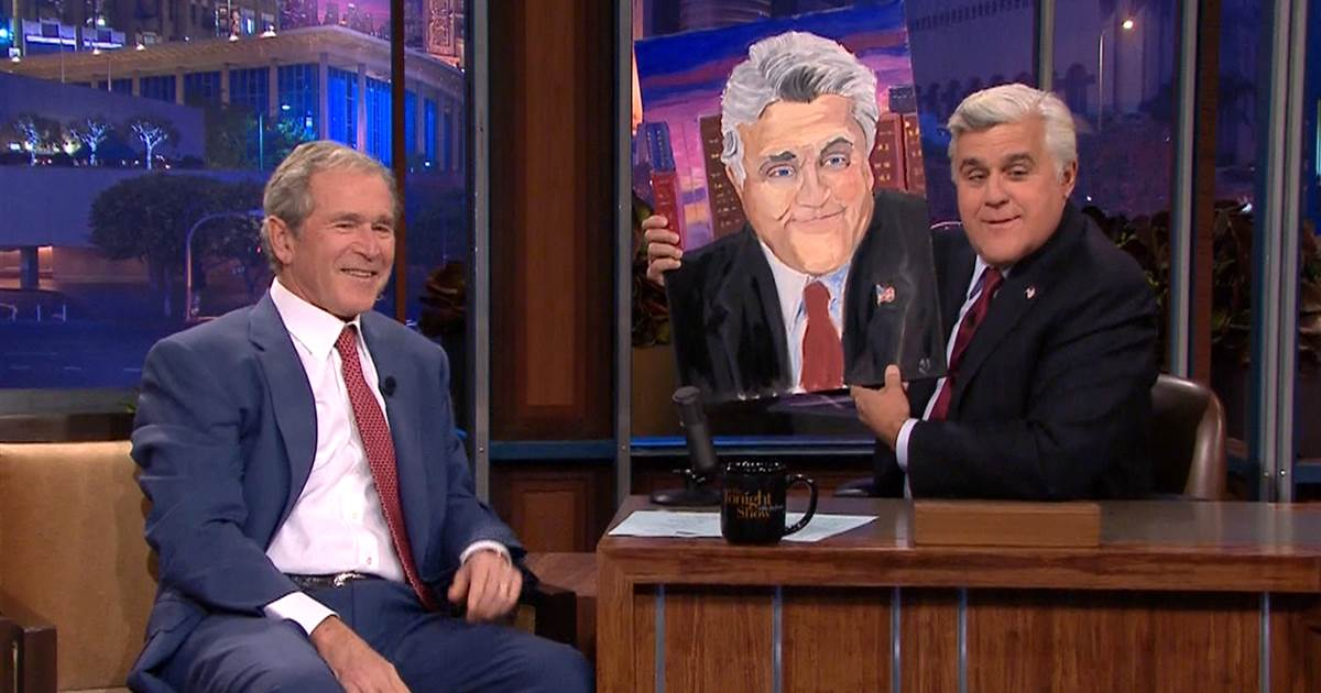George w bush painting jay leno