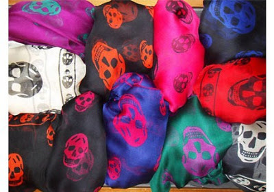 Celebrities wearing skull scarf