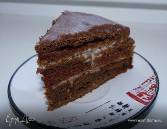 Шоколадный торт на кефире со сметанным кремом