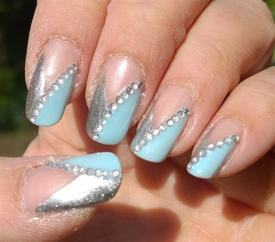 Baby blue and silver nails