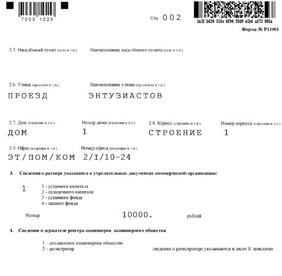 Инструкция заполнения формы p11001
