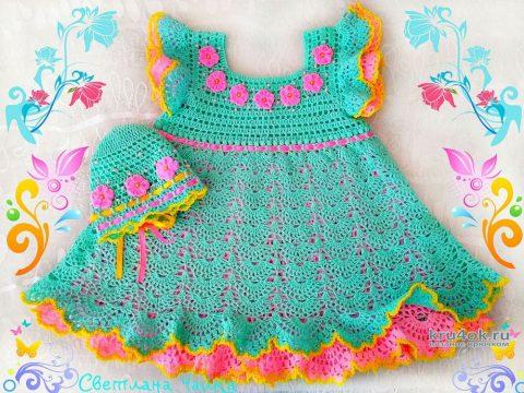 Платье и шапочка для девочки 2 лет. Работы Светланы Чайка