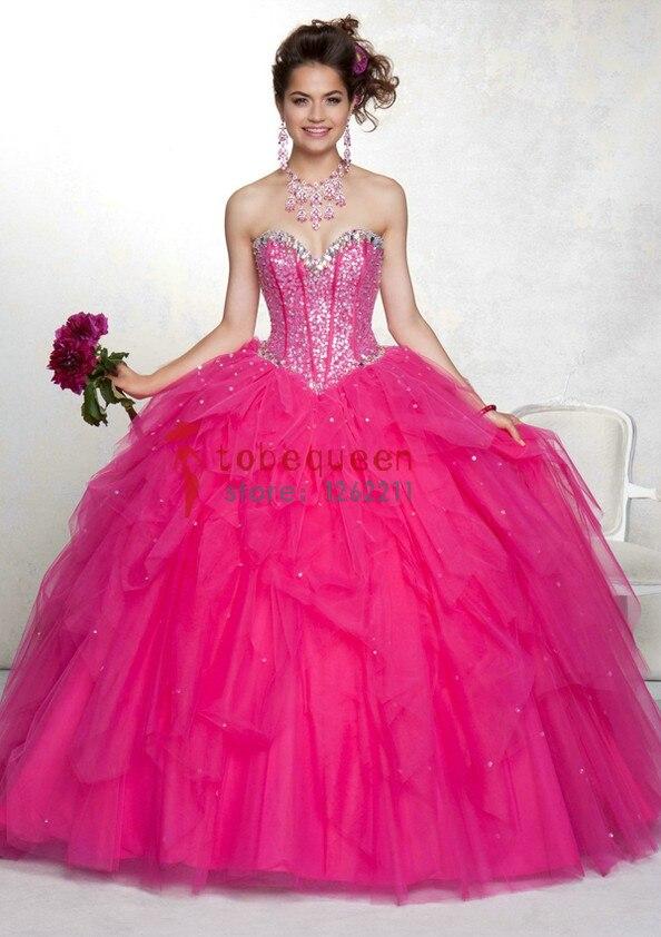 Hot pink cinderella prom dress