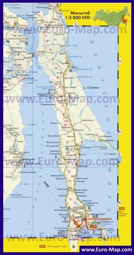 Показать на карте остров сахалин