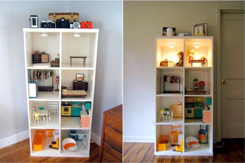 Кукольный домик в книжном шкафу с подсветкой
