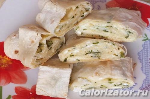 Армянский лаваш с зеленью и сыром