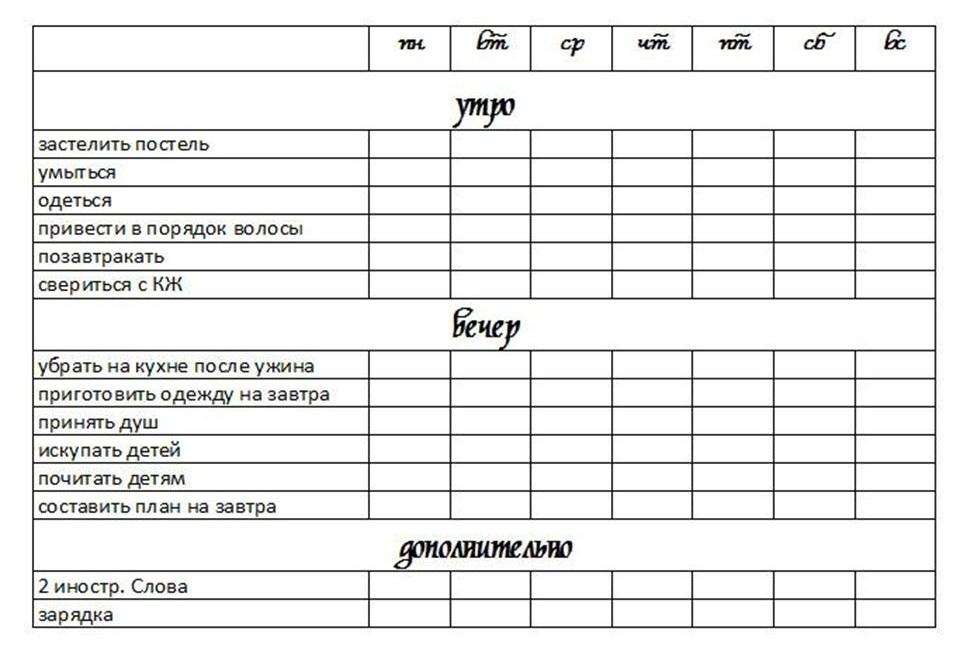 Заполненный лист контрольного журнала флай леди, пример 4