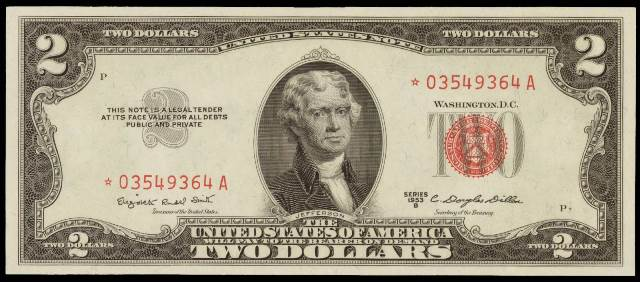 Value of 1953 2 dollar bill with red seal