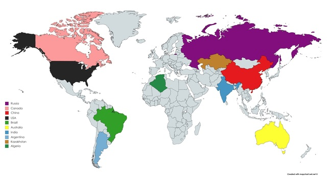 Top Largest Countries Of The World - Largest countries in the world