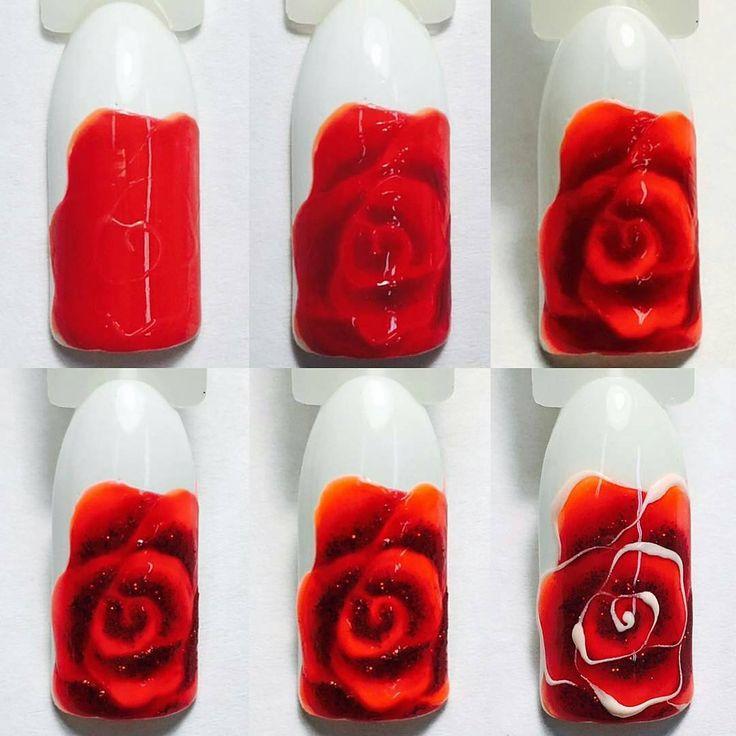 Как на ногте нарисовать розу