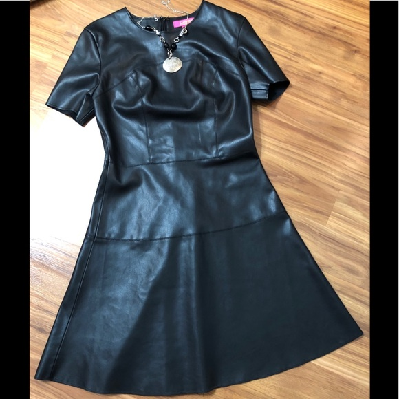 Catherine malandrino blue leather dress