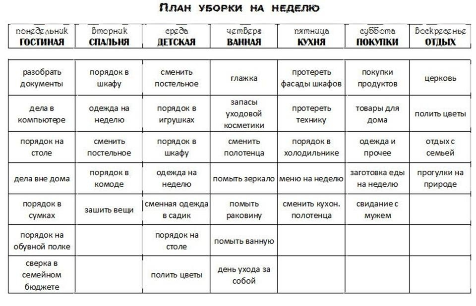 Заполненный лист контрольного журнала флай леди, пример 1