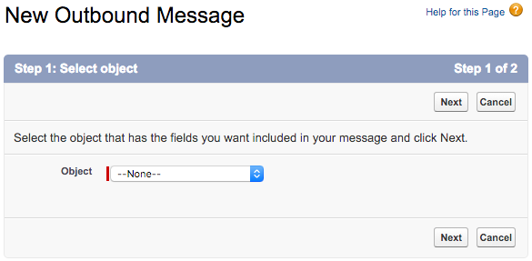 Outbound Message setup step 1