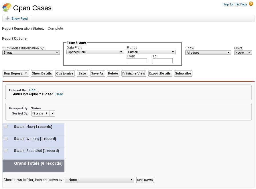 Open cases report