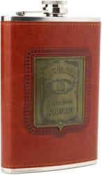 Jack Daniel s Red Leather Cover Steel Hip Flask (266 ml)