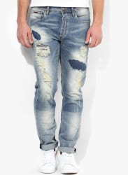Blue Mid Rise Regular Fit Regular Fit Jeans (Mike)