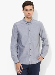 Dark Grey Solid Slim Fit Casual Shirt