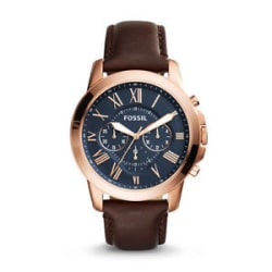 Details about Fossil FS5068 Brown Leather Strap Blue Dial Mens Chronograph Analog Watch