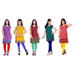 Trendbend Combo Of 5 Kurtis, multicolor, m