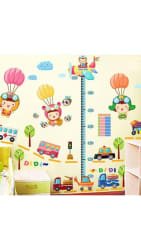 WallTola Height Chart With Cute Babies And Parachute Wall Sticker