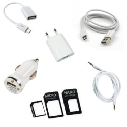 Combo of Car Charger, Wall Charger, Otg Cable, Aux Cable, Usb Cable With Sim Adapter Black, multicolor